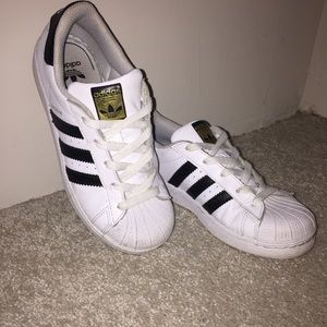 Adidas Superstars size 3 Boys = Size 5.5 Womens